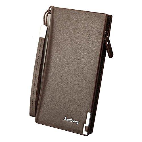 OvMax 長財布 メンズ 二つ折り PUレザー 大容量カード入れ カード収納 小銭入れ ウォレット ビジネス ファスナー レトロ風 ブラウン