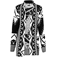 GirlzWalk Women's Aztec Tribal Print Outwear Sweater Ladies Knitted Boyfriend Cardigan