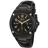 セイコー Seiko Women's SRW893 Sportura Chronograph Black Dial Black Leather Watch [並行輸入品]