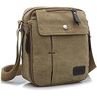 JULED Mens Small Vintage Shoulder Bag Canvas Sports Zipped Messenger Bag  Durable Multi-Pocket Sling 09716cefc57a4
