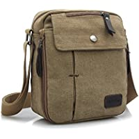 ae4ecb307383 JULED Mens Small Vintage Shoulder Bag Canvas Sports Zipped Messenger Bag  Durable Multi-Pocket Sling