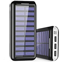 Portable Charger 24000mAh Power Bank High Capacity Solar charger with Dual Input Port ( Double-Speed Recharging ) & 3 USB Ports External Batteries for Smartphones,Android Phones and other Smart Devices - White