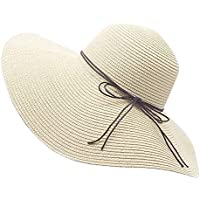 YUUVE Floppy Straw Hat Large Brim Sun Hat Women Summer Beach Cap Big Foldable Fedora Hats for Women Girls