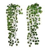 ROZZERMAN 観葉植物 人工 アイビー 緑 2本 セット インテリア 壁掛け 植物 造花 大型 室内 g37 (C-グリーン)