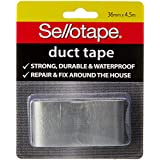Sellotape High Track Strength Duct Tape, 36mm x 4.5m, Silver - Pack of 8