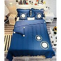 Mengersiソリッドパッチワーク寝具ベッドスプレッドキルトセット花印刷コットン3ピースフルサイズ フル ブルー