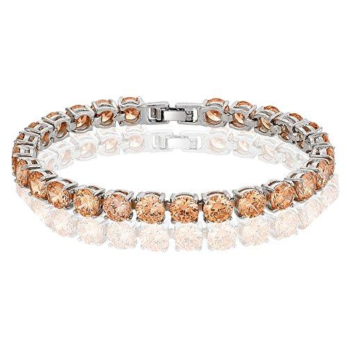 [RIVA Jewelry] テニスブレスレット [18cm/7inch] ラウンドカット ファインダイヤモンド CZ [シャンパンカ] 18K ホワイトゴールド メッキ, シンプル モダン 優雅