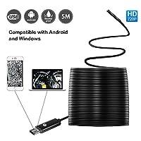USB内視鏡検査蛇カメラ2メガピクセルHDカメラ、2in 1for AndroidのスマートフォンOTGとWindows 5m16.4Ft )