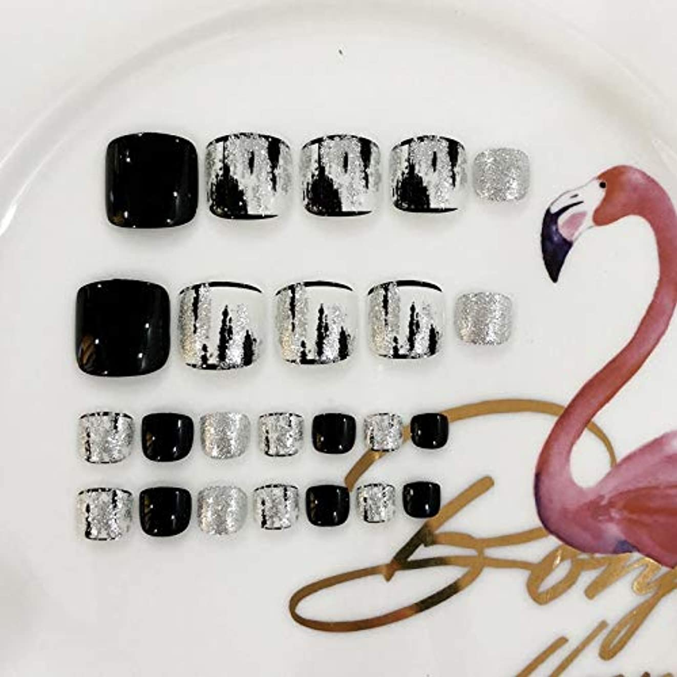 ミニチュア労働者ビュッフェAFAEF HOME ブラックシルバー耐久性のある防水偽爪キット24個の偽爪、接着剤付き