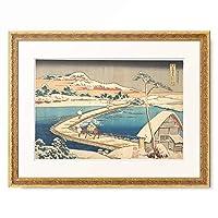 葛飾北斎 Katsushika Hokusai 「諸國名橋奇覧 かうつけ佐野ふなはしの古づ」 額装アート作品