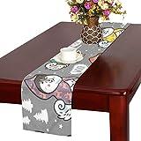 GGSXD テーブルランナー すばしこい サモエド犬 クロス 食卓カバー 麻綿製 欧米 おしゃれ 16 Inch X 72 Inch (40cm X 182cm) キッチン ダイニング ホーム デコレーション モダン リビング 洗える