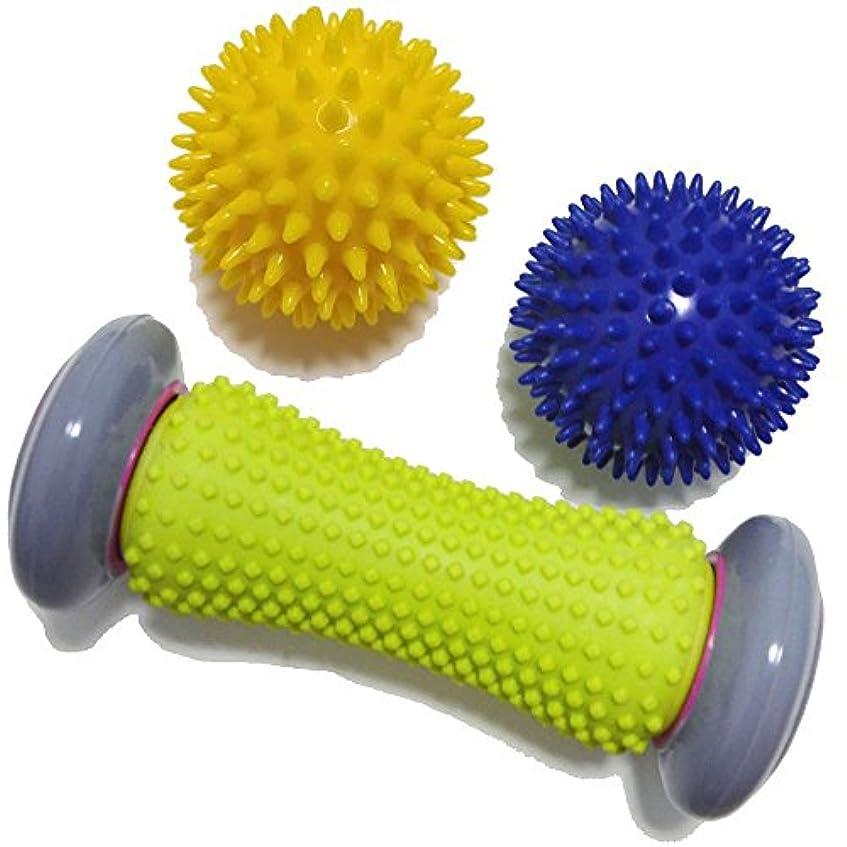 高度なシネウィはずフットローラー&スパイキーマッサージボール - トリガーポイントセラピー(リラクゼーション)足底筋膜炎とリフレクソロジーマッサージ - ディープティッシュアクアシュシュールリラックスフットバックレッグハンドタイトマッスル(3本セット)