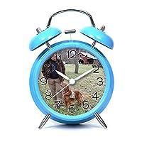 目覚まし時計ツインベルビンテージミュート目覚まし時計ベッドサイドとナイトクロック人格パターン付きデスククロック(赤、黒、白、青) - 549. トレーニングサービス犬は、サービスメンバーを癒すのに役立ちます