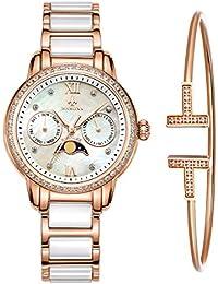 MAMONA女子ローズゴールドクロノグラフ腕時計とブレスレットのセットステンレス鋼やカレンダーのセラミック腕時計L58010RGGT