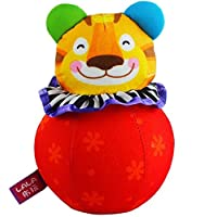 Keaner新生児幼児Roly - Poly Toys Tiger FunシェイクサウンドPlush Toyタンブラーギフト装飾_ (レッド)