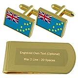 ツバルの国旗のゴールド・トーン カフスボタン お金クリップを刻まれたギフトセット