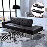 BEDDOM Sofa Bed Artificial Leather Black Contemporary Lounge Sofa Wooden Frame Futon Sofa 197 x 83 x 49 cm (L x W x H) Fully Extended