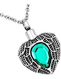 luckyjewelryハート壷ペンダント記念アッシュ記念品グリーンキュービックジルコニアネックレス灰