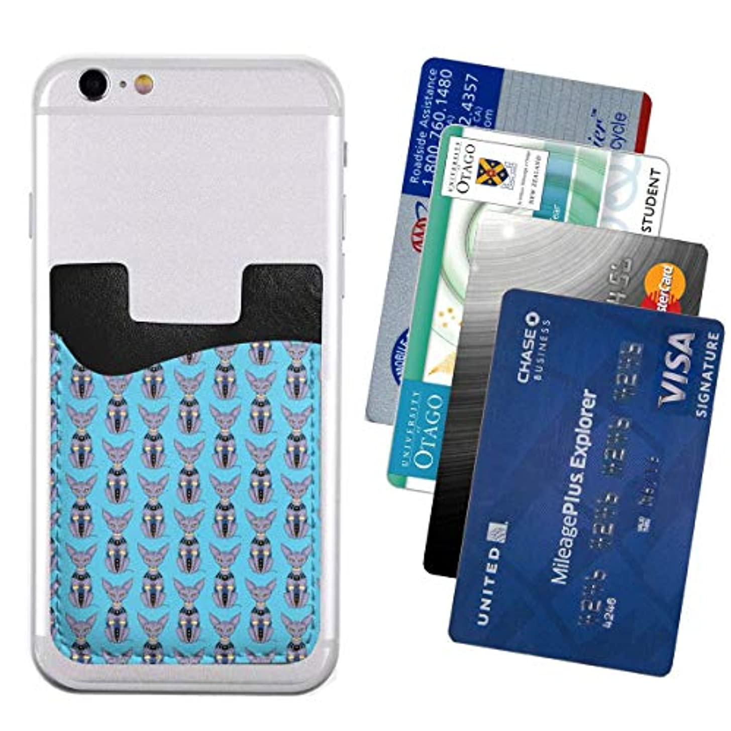 救急車いつか羊の携帯ウォレット ポケット カードホルダースマートフォン カードポケッ Sphynx Cat Bills Beerus 便利 携帯電話カードパッケージ2.4 * 3.5in