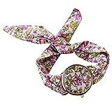 PolytreeレディースGirl 's花柄布バンドフラワードレスクォーツ腕時計(タイプ14)