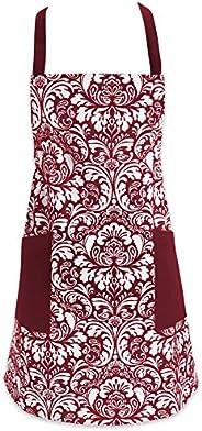 DII 100% Cotton, Fashion Printed Damask Women Kitchen Apron, Adjustable Neck Strap & Waist Ties, Front Pockets, Machine Wash