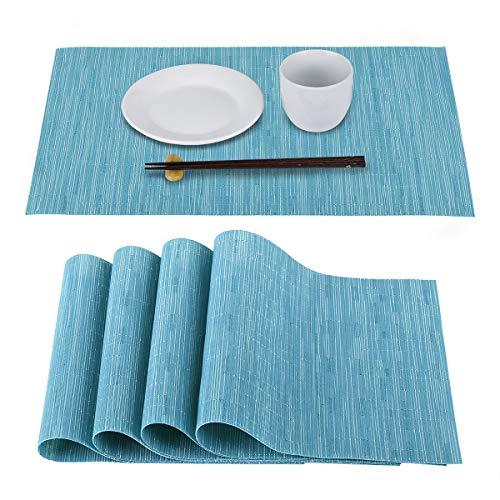 AOKESIランチョンマット 4枚セット テーブルマット 撥水加工 防汚 断熱 ランチョンマット滑り止め 水洗い可能 手入れ簡単PVC材質 抗菌 無臭 北欧 おしゃれ 45*30cm 家庭&レストランに最適(蓝色)