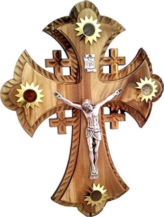 の間に放棄された軽蔑2層のOlivewood Crucifix With Holy Landサンプル – Essences