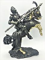 置物 オブジェ 飾り オシャレ インテリア プレゼント アンティーク調 ヴィンテージ レトロ  鎧 甲冑 ブロンズ色 彫刻風 戦士 長さ36CM 高さ42CM 戦闘中の中世期騎士 2種類 (1)