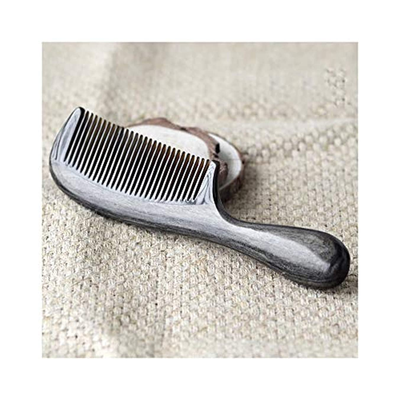 遊具割り当てます漏れWASAIO 髪ブラシ手作り天然水牛角くし帯電防止ポータブル理髪くし (色 : 黒)
