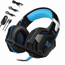 [ゲーミングヘッドセット] LinGear Direct ゲーミングヘッドセット ゲーム用ヘッドセット3.5mm 高音質 ストレオ 密封型 ノイズキャンセル 90°回転式マイク XBOX 360 PS3 PS4 PC スマホ ラップトップ タブレットなどに対応可能 (ブルー)
