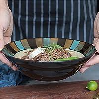 家庭用食器和風セラミッククリエイティブラーメンスープボウルサラダボウル野菜ボウルデザートボウルフルーツプレート(サイズ:直径21.5CM *高6.3CM)