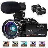 ビデオカメラ Aabeloy 4K ビデオカメラ 48MP 16倍デジタルズーム Wi-Fi 4800万画素 IR暗視 デジタル補正 3インチIPSタッチパネル 予備バッテリーあり 超広角レンズ搭載 外付けマイク 軽量 最大128GBまでサポート 日本語システム (4Kビデオカメラ)