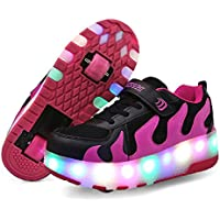 Nsasy Roller Skates Shoes Girls Boys Roller Shoes Kids Wheel Shoes Roller Sneakers Shoes with Wheels for Kids