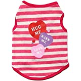 BEESCLOVER New Summer Pet Dog Vests Stripe Cotton Vest Cute T-Shirt Clothes Coat Cothing for Small Dogs Cat Puppy Pink M
