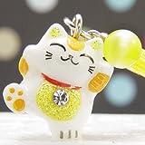 F 黄色 風水招き猫根付ストラップ 幸せの幸運玉付