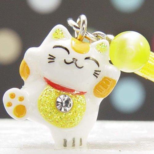 F 黄色 風水招き猫根付ストラップ 幸せの幸運玉付...