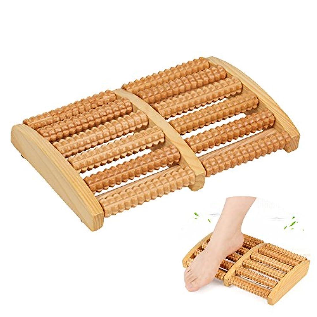マッサージャー 木製 ローラータイプ 足 マッサージ リラックス ツール