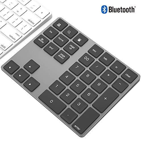 充電式 Bluetooth ワイヤレス テンキー、軽量アルミ合金製 34 キーブルートゥース無線数字キーパッド、MacBook/Windows PC/Androidのタブレット対応 (スペースグレー)