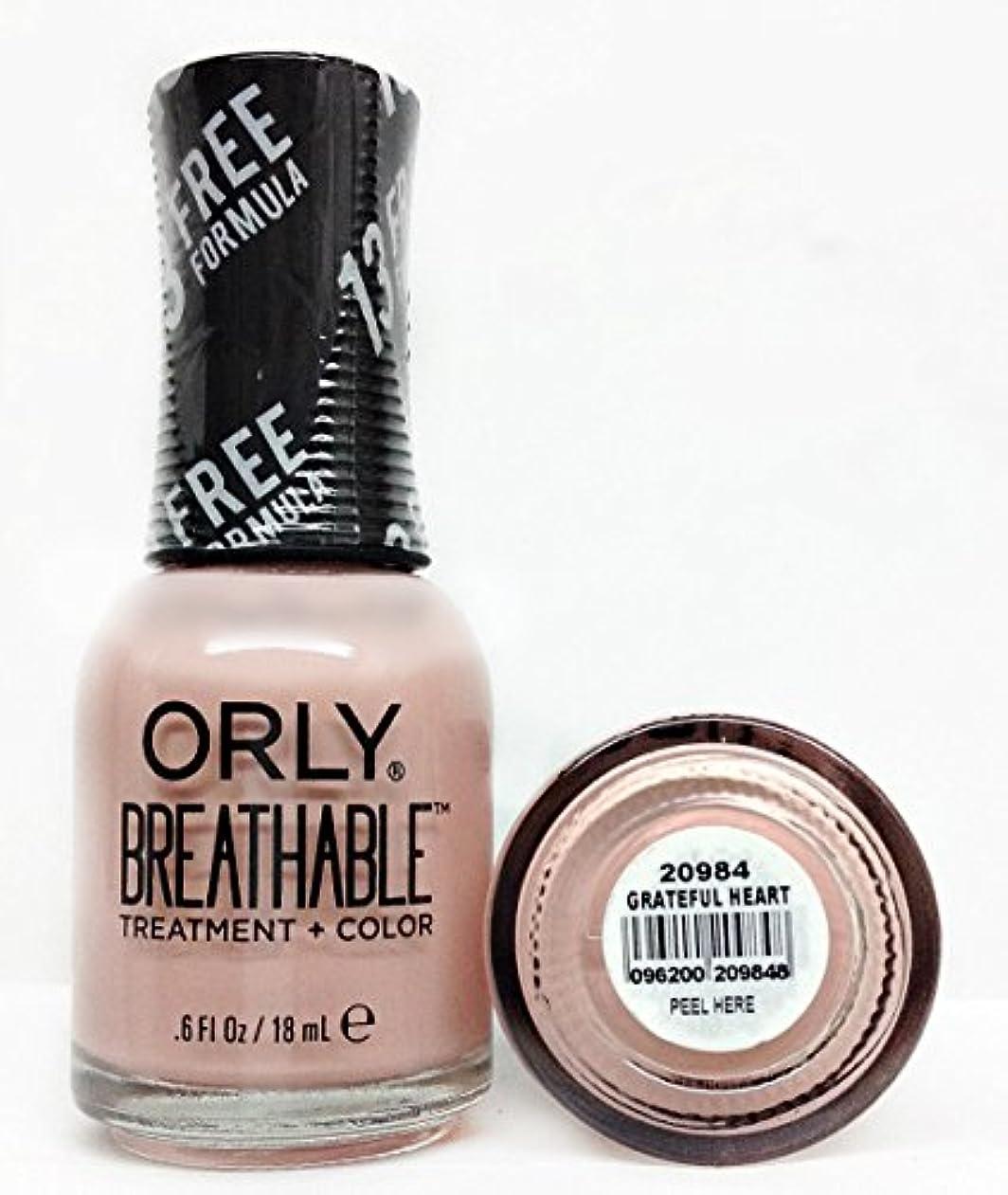 協力的社会主義者三角Orly Breathable Nail Lacquer - Treatment + Color - Grateful Heart - 0.6 oz / 18 mL