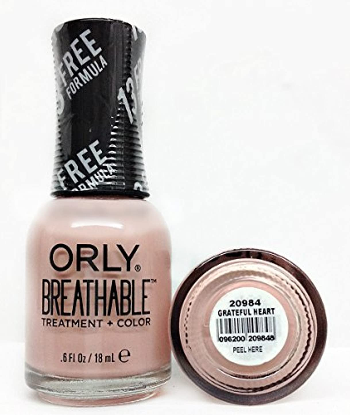 ウィンク限りなくアルコールOrly Breathable Nail Lacquer - Treatment + Color - Grateful Heart - 0.6 oz / 18 mL
