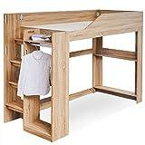 LOWYA(ロウヤ) ベッド ロフトベッド システムベッド すのこ ハンガーラック 洋服 収納 木製ロフト 階段付き 子供部屋 シングルベッド ベッドフレーム 一人暮らし ナチュラル