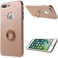 アンジェリツコ iPhone7plus スマホリング付きケース <iPhoneフルガード スタンド機能 指紋防止処理> メタリック 保護ケース (ピンクゴールド)