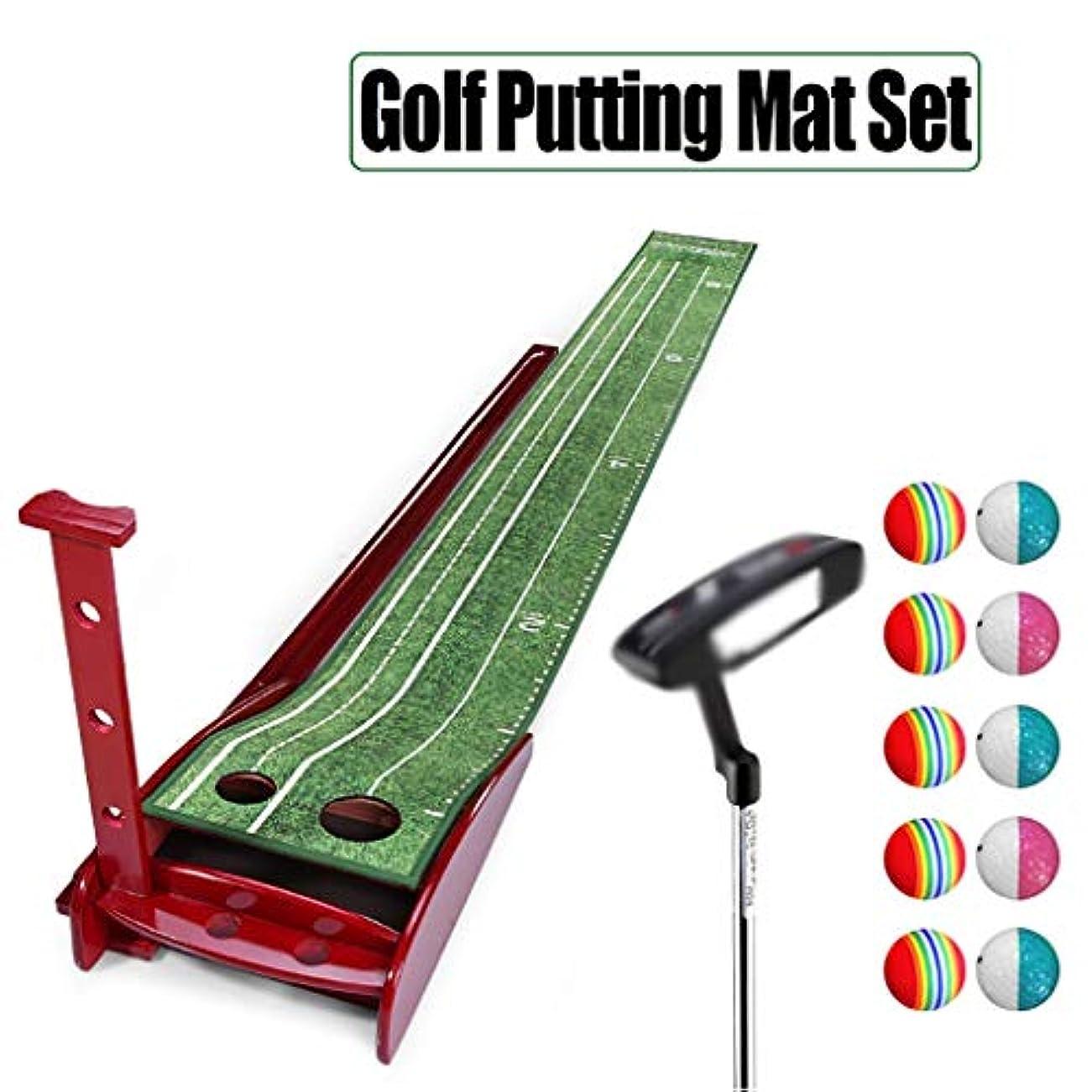 立方体サージ軍団ゴルフ パターマット Golf Putting Mat ホーム/オフィスゴルフパッティング練習用マット、ゴルフパッティングマットセット、韓国のベルベットマット - ゴルフボールリターンシステムと無垢材製のベースが含まれており、パッティングスキルの向上を支援します(300 * 30 CM)