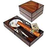 Habanos & Hermanos- Extravaganza Collection - The Compact Cigar Ashtray with Cigar Cutter and Punch (4.75 x 4.75 x 2.8)