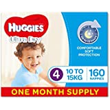 Huggies Ultra Dry Nappies, Boys, Size 4 Toddler (10-15kg), 160 Count, One-Month Supply, (Packaging May Vary)