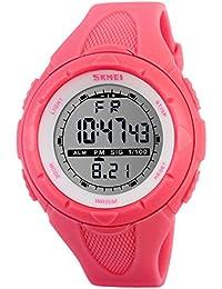 SKMEI 腕時計 キッズ 見やすい スポーツ シンプル デジタル表示 30M防水 LED 日付 曜日 アラーム クロノグラフ プラスチックベルト レッド