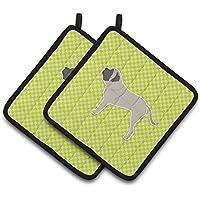 Caroline 's Treasures English Mastiff Checkerboardグリーンのペアポットホルダーbb3856pthd、7.5hx7.5 W、マルチカラー