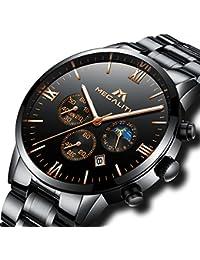 [メガリス]MEGALITH腕時計 メンズ時計ブラック ステンレススチール防水 クロノグラフウオッチ 多針アナログクオーツ腕時計金属 日付表示 ラグジュアリー おしゃれ ビジネス カジュアル メタル男性腕時計 ブラック