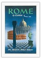 クリッパーによってローマ、イタリア - サンピエトロ大聖堂ティベリウス - パンアメリカン航空 - ビンテージな航空会社のポスター c.1951 - 美しいポスターアート