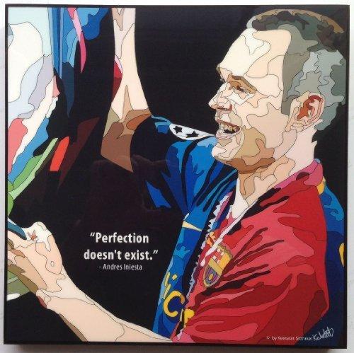 アンドレス・イニエスタ FCバルセロナ 海外製 サッカーグラフィックアート 木製ポスター インテリア